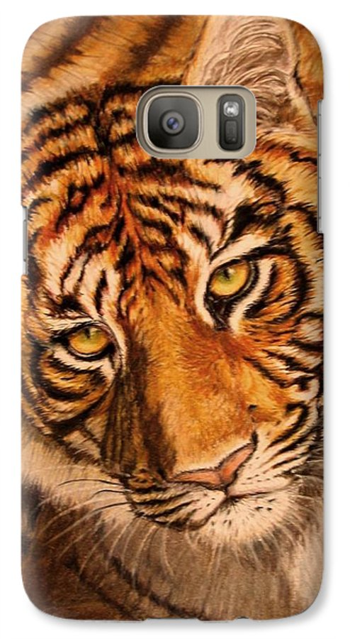 Tiger Galaxy S7 Case featuring the drawing Tiger by Karen Ilari