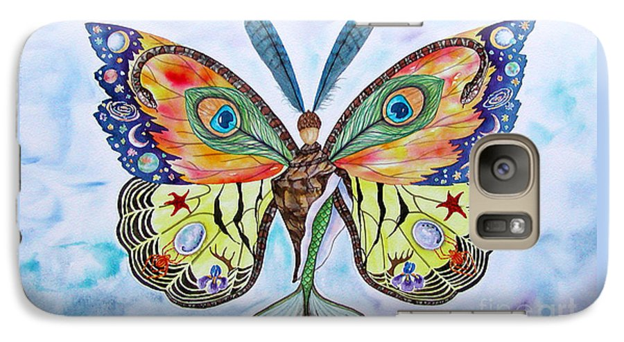 Butterfly Galaxy S7 Case featuring the painting Winged Metamorphosis by Lucy Arnold