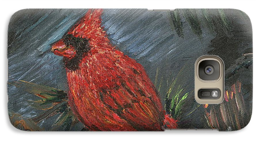 Bird Galaxy S7 Case featuring the painting Winter Cardinal by Nadine Rippelmeyer