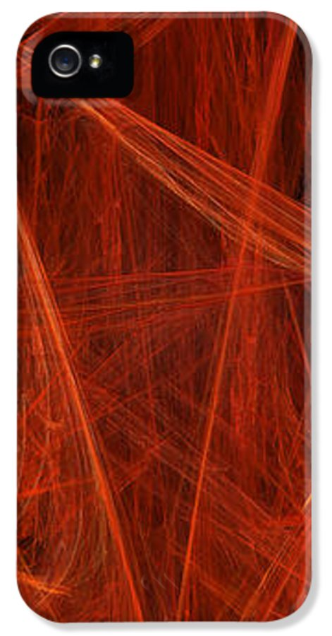 Abstract IPhone 5 / 5s Case featuring the digital art  Dancing Flames 1 V - Panorama - Abstract - Fractal Art by Andee Design