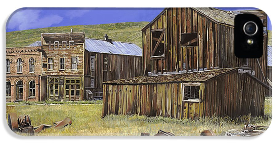 Bodie IPhone 5 / 5s Case featuring the painting Ghost Town Of Bodie-california by Guido Borelli