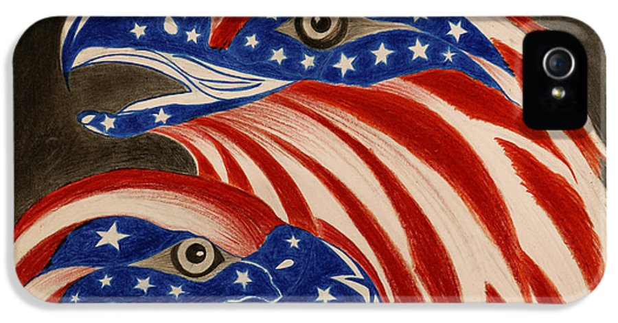 American IPhone 5 / 5s Case featuring the drawing Proud Of Eagle by Jalal Gilani