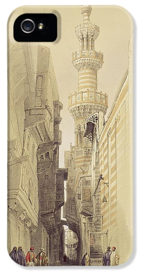 Street IPhone 5 / 5s Case featuring the painting The Minaret Of The Mosque Of El Rhamree by David Roberts