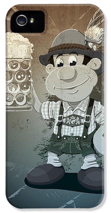 Frank Ramspott IPhone 5 / 5s Case featuring the drawing Beer Stein Lederhosen Oktoberfest Cartoon Man Grunge Monochrome by Frank Ramspott