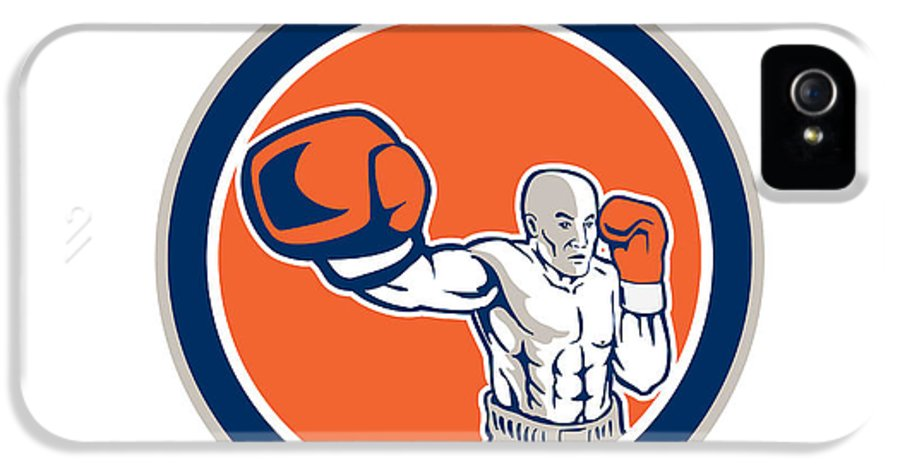 Boxer IPhone 5 / 5s Case featuring the digital art Boxer Boxing Punching Jabbing Circle Retro by Aloysius Patrimonio