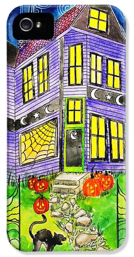 Hallows Eve IPhone 5 / 5s Case featuring the painting Flight Of The Moon Witch On Hallows Eve by Janet Immordino