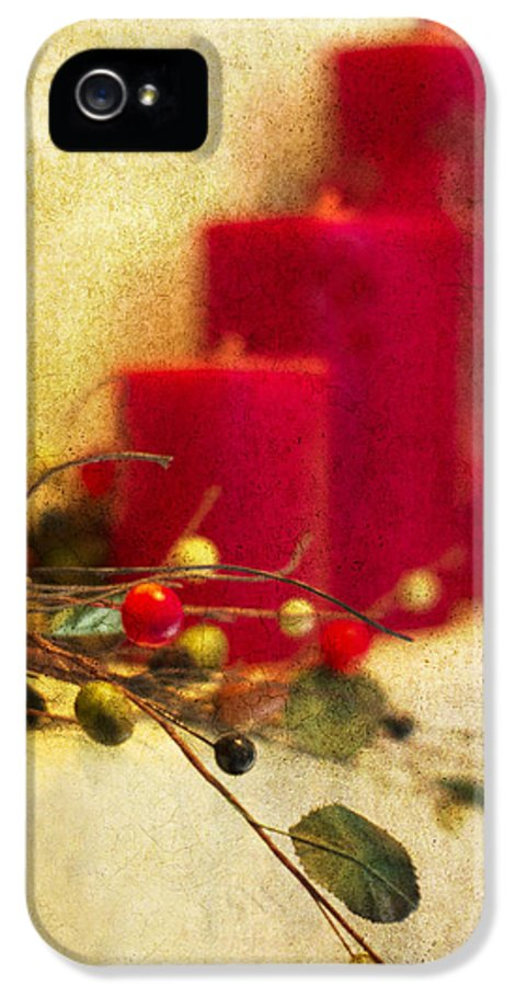 Christmas IPhone 5 / 5s Case featuring the photograph Holiday Candles by Rebecca Cozart