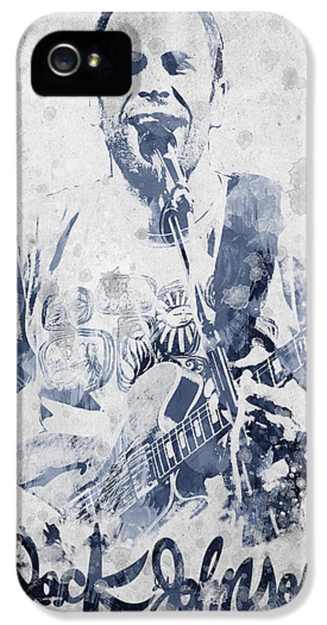Jack Johnson IPhone 5 / 5s Case featuring the digital art Jack Johnson Portrait by Aged Pixel