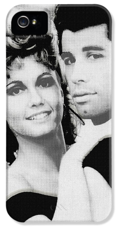 John Travolta IPhone 5 / 5s Case featuring the painting Olivia Newton John And John Travolta In Grease Collage by Tony Rubino
