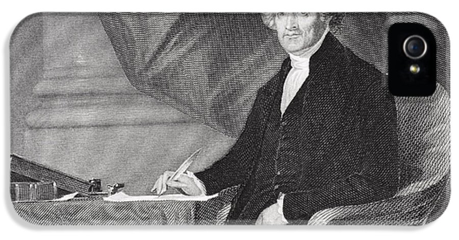 Thomas Jefferson IPhone 5 / 5s Case featuring the drawing Portrait Of Thomas Jefferson by Alonzo Chappel