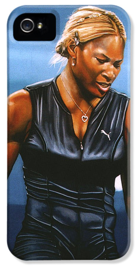 Serena Williams IPhone 5 / 5s Case featuring the painting Serena Williams by Paul Meijering
