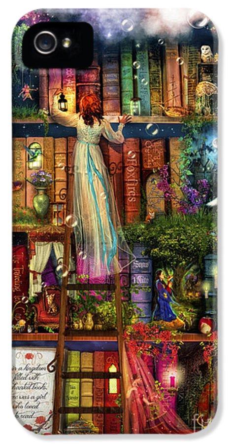 Aimee Stewart IPhone 5 / 5s Case featuring the digital art Treasure Hunt Book Shelf by Aimee Stewart