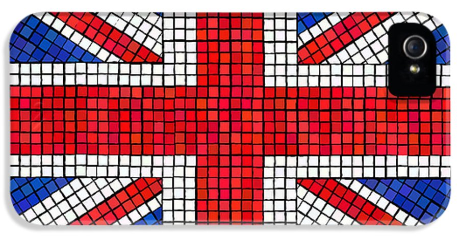 Background IPhone 5 / 5s Case featuring the digital art Union Jack Mosaic by Jane Rix