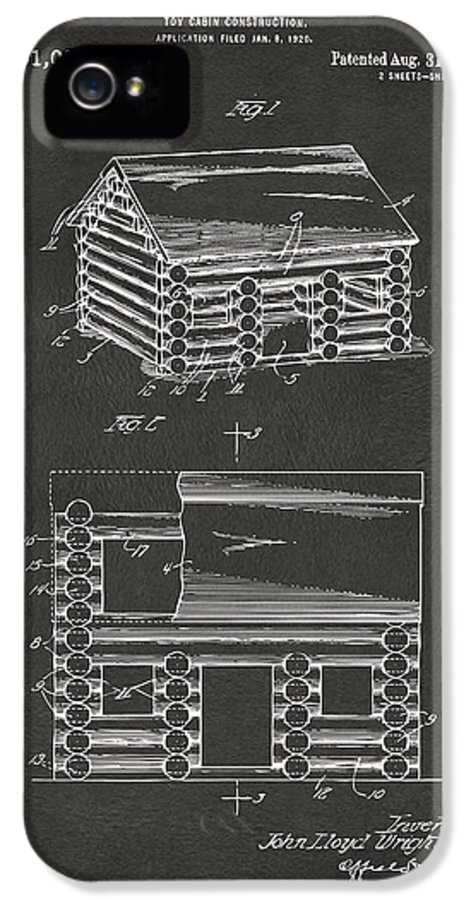 Lincoln Logs IPhone 5 / 5s Case featuring the drawing 1920 Lincoln Logs Patent Artwork - Gray by Nikki Marie Smith