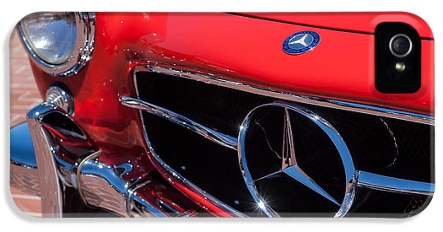 1955 Mercedes-benz 300sl Gullwing Grille Emblems IPhone 5 / 5s Case featuring the photograph 1955 Mercedes-benz 300sl Gullwing Grille Emblems by Jill Reger