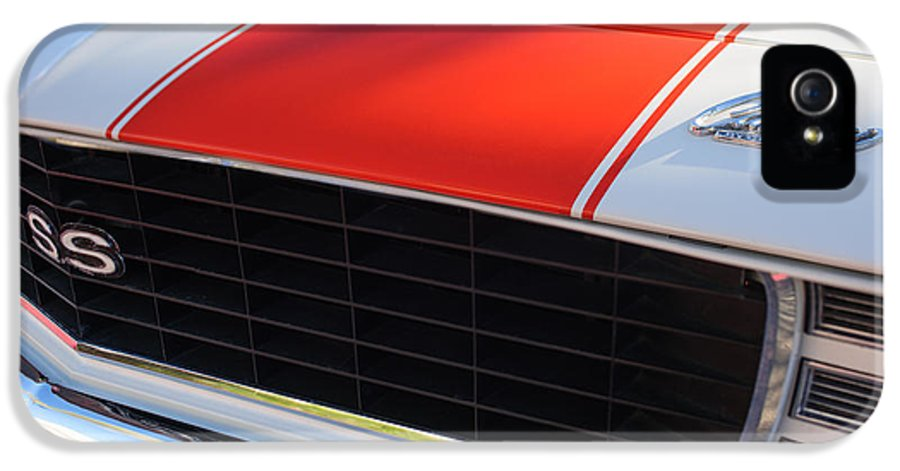 1969 Chevrolet Camaro Rs-ss Indy Pace Car Replica Grille IPhone 5 / 5s Case featuring the photograph 1969 Chevrolet Camaro Rs-ss Indy Pace Car Replica Grille - Hood Emblems by Jill Reger