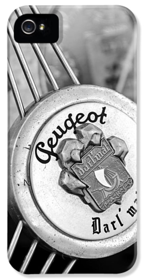 1937 Peugeot 402 Darl'mat Legere Special Sport Roadster Recreation Steering Wheel Emblem IPhone 5 / 5s Case featuring the photograph 1937 Peugeot 402 Darl'mat Legere Special Sport Roadster Recreation Steering Wheel Emblem by Jill Reger
