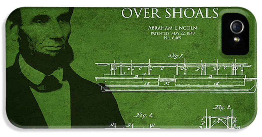 Abraham Lincoln IPhone 5 / 5s Case featuring the drawing Abraham Lincoln Patent From 1849 by Aged Pixel