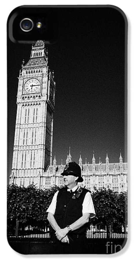 British IPhone 5 / 5s Case featuring the photograph british metropolitan police office guarding the houses of parliament London England UK by Joe Fox