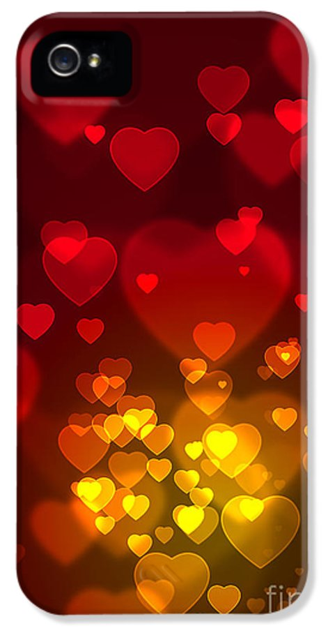 Blur IPhone 5 / 5s Case featuring the photograph Hearts Background by Carlos Caetano