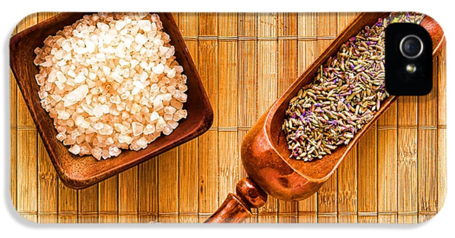 Bath IPhone 5 / 5s Case featuring the photograph Lavender Seeds And Bath Salts by Olivier Le Queinec