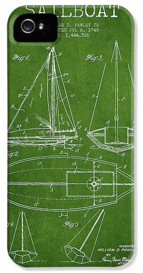 Sailboat IPhone 5 / 5s Case featuring the drawing Sailboat Patent Drawing From 1948 by Aged Pixel