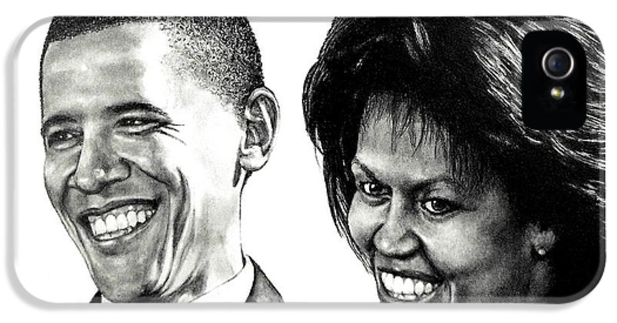 President IPhone 5 / 5s Case featuring the drawing The Obama's by Todd Spaur