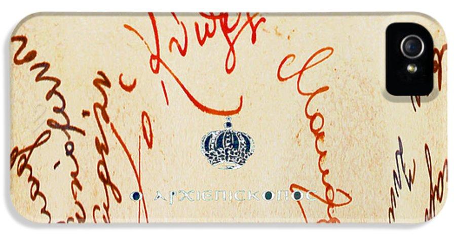 Archbishop Makarios Iii IPhone 5 / 5s Case featuring the photograph Archbishop Makarios Autograph by Augusta Stylianou