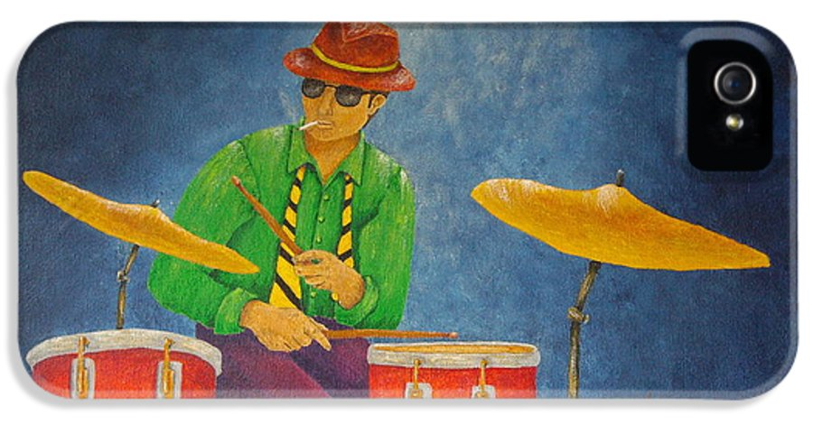 Pamela Allegretto-franz IPhone 5 / 5s Case featuring the painting Jazz Drummer by Pamela Allegretto