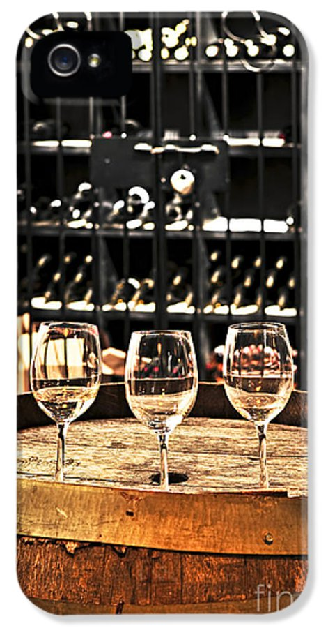 Wine IPhone 5 / 5s Case featuring the photograph Wine Glasses And Barrels by Elena Elisseeva