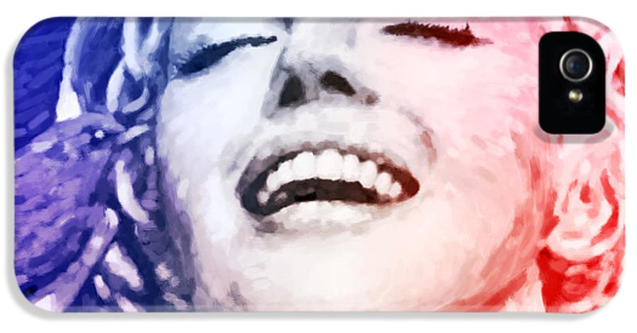 1926s IPhone 5 / 5s Case featuring the painting Blue And Red Beauty by Atiketta Sangasaeng