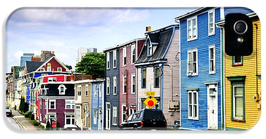 Street IPhone 5 / 5s Case featuring the photograph Colorful Houses In St. John's by Elena Elisseeva