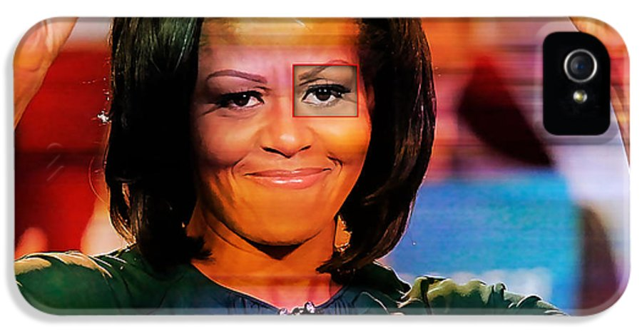 Michelle Obama Photographs IPhone 5 / 5s Case featuring the mixed media Michelle Obama by Marvin Blaine