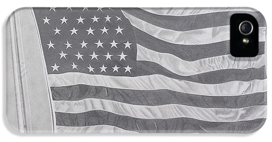 Flag IPhone 5 / 5s Case featuring the drawing 50 Stars 13 Stripes by Wil Golden