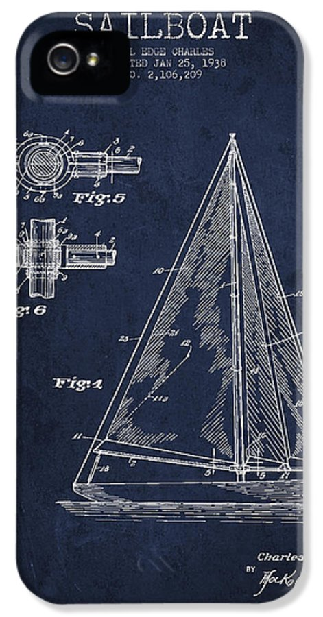 Sailboat IPhone 5 / 5s Case featuring the drawing Sailboat Patent Drawing From 1938 by Aged Pixel