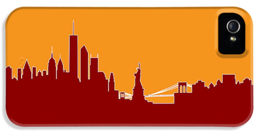 United States IPhone 5 / 5s Case featuring the digital art New York Skyline by Michael Tompsett
