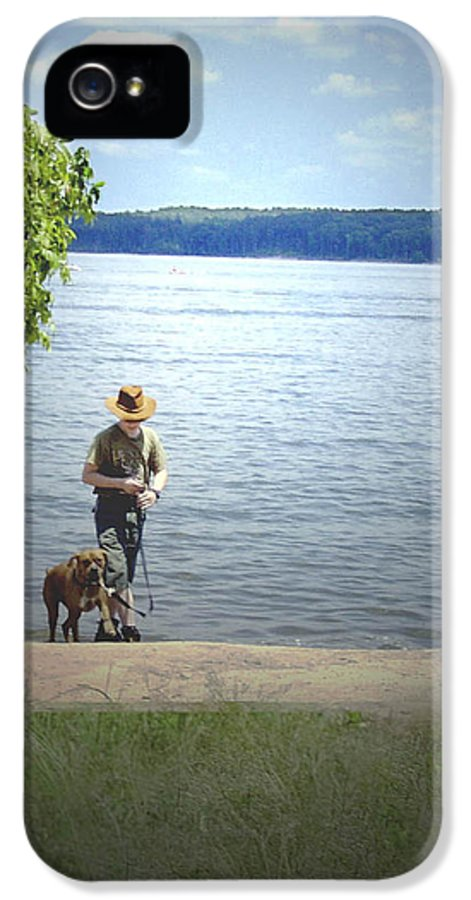 Boxer IPhone 5 / 5s Case featuring the photograph A Boy And His Dog by Sandra Clark