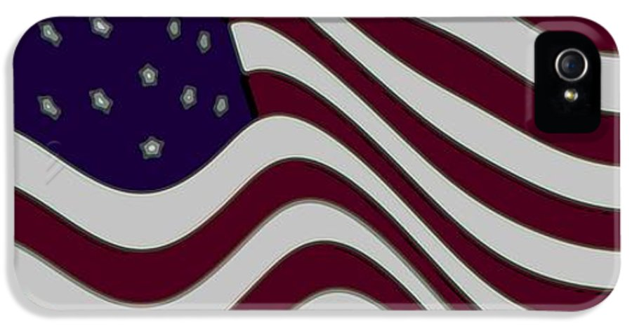 Enhance Enhanced 50 Fifty Star Stars Bar Bars Stripe Stripes Fly Flying Flew Flown 13 Thirteen Abstract Abstractly Memorial Day July 4th 1776 Independence Day Flag Day June 4th Iris Maroon Marooned Red Crimson Burgundy Blue Violet Indigo Grey Gray White Snow Washington Dc The White House Oval Office Air Force One Marine One President Barack Obama Freedom Slavery Slaves Land Of The Free Home Of The Brave Braves Bravery Us Marines Fighting Men These Colors Don't Run Usa Love It Or Leave It IPhone 5 / 5s Case featuring the digital art Abstract 50 Star American Flag Flying Enhanced Cropped X 2 by L Brown
