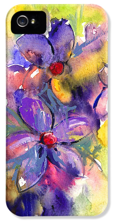 Abstract Watercolor Flowers Prints IPhone 5 / 5s Case featuring the painting abstract Flower botanical watercolor painting print by Svetlana Novikova
