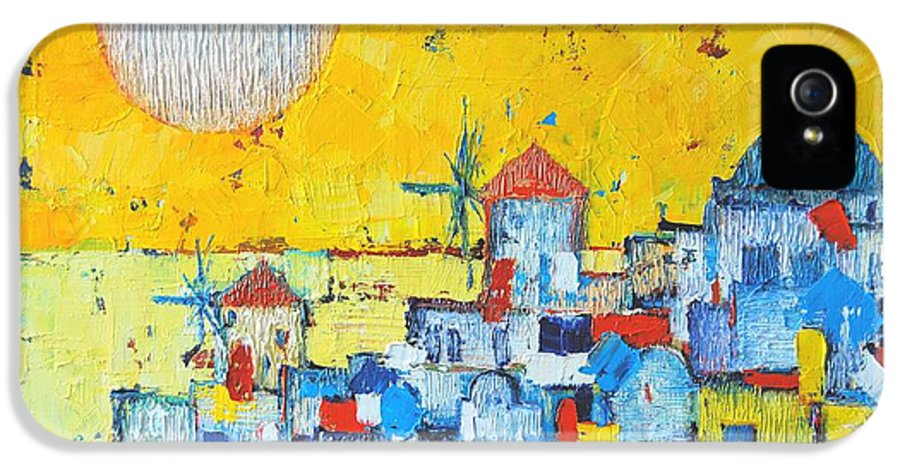 Santorini IPhone 5 / 5s Case featuring the painting Abstract Santorini - Oia Before Sunset by Ana Maria Edulescu