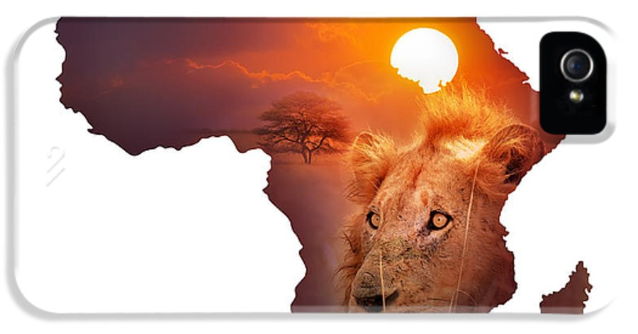 Africa IPhone 5 / 5s Case featuring the photograph African Wildlife Map by Johan Swanepoel