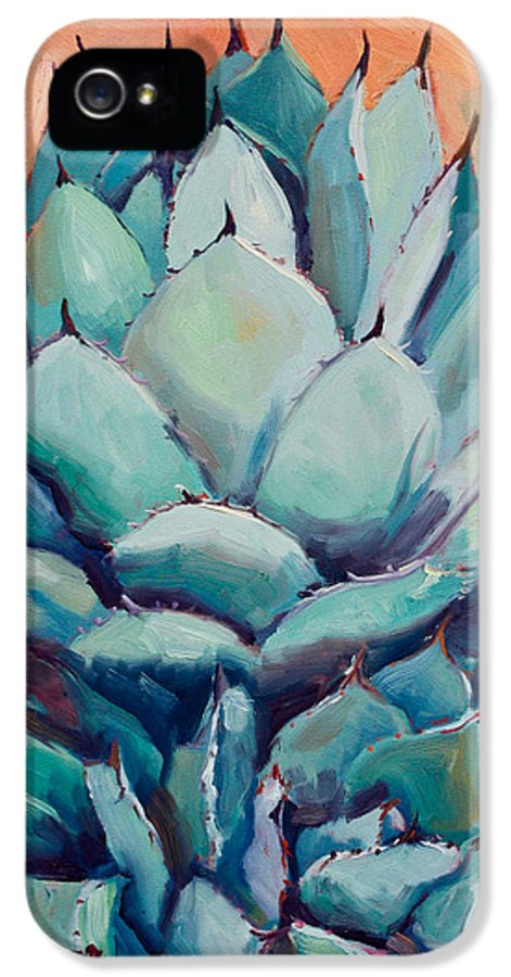 Plant IPhone 5 / 5s Case featuring the painting Agave With Pups by Athena Mantle