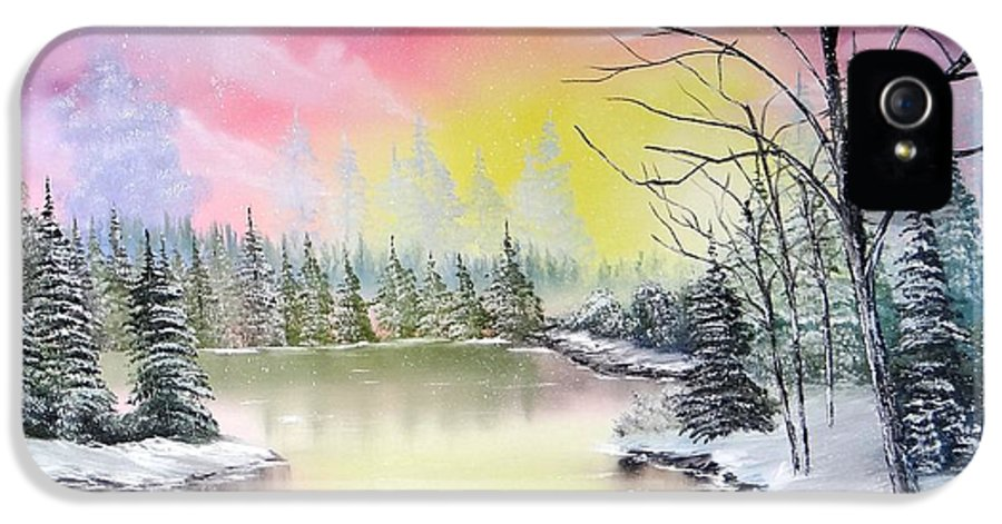 Landscape Paintings Paintings IPhone 5 / 5s Case featuring the painting Alaskan Sunset by Kevin Brown