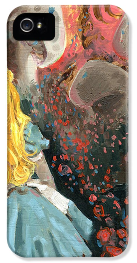 Alice IPhone 5 / 5s Case featuring the painting Alice In Mushroom Acres by Luis Navarro