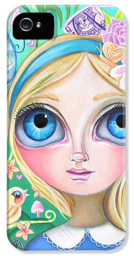 Alice IPhone 5 / 5s Case featuring the painting Alice In Pastel Land by Jaz Higgins