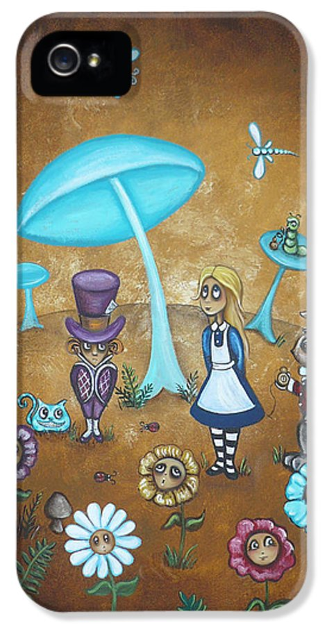 Fairytale IPhone 5 / 5s Case featuring the painting Alice In Wonderland - In Wonder by Charlene Murray Zatloukal