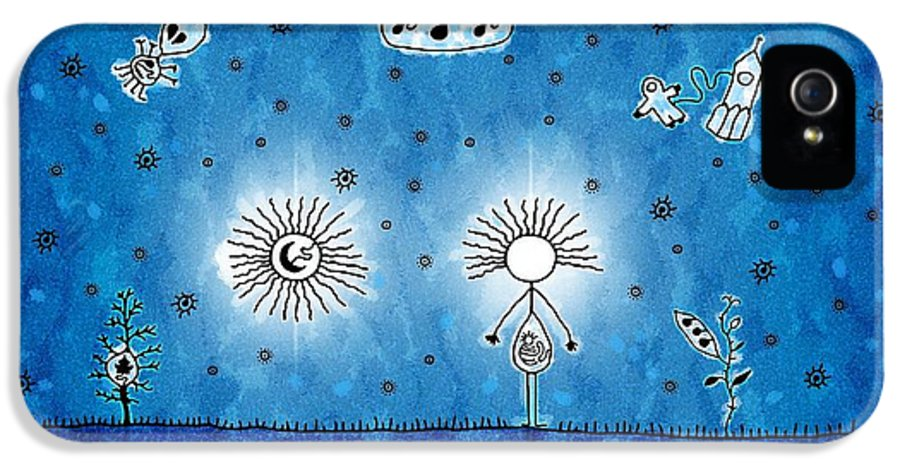 Abstract IPhone 5 / 5s Case featuring the drawing Alien Blue by Gianfranco Weiss