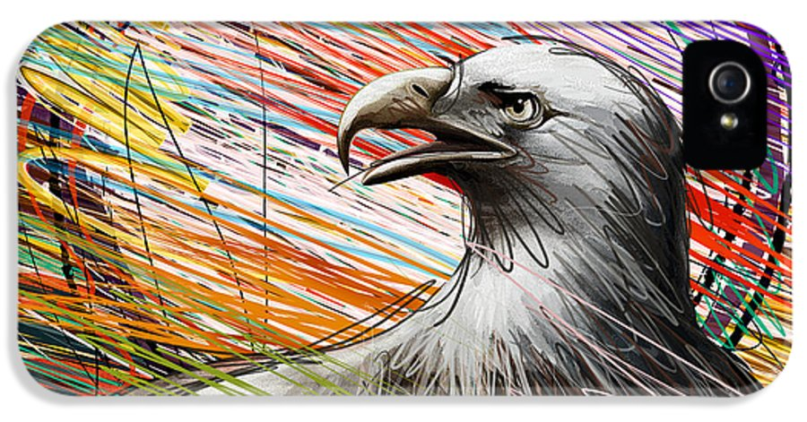 Eagle IPhone 5 / 5s Case featuring the digital art American Eagle by Bedros Awak