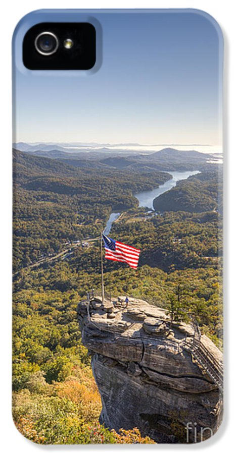 American Flag At Chimney Rock State Park North Carolina IPhone 5 / 5s Case featuring the photograph American Flag At Chimney Rock State Park North Carolina by Dustin K Ryan