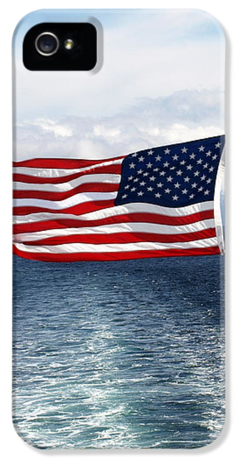 Flag IPhone 5 / 5s Case featuring the photograph American Flag Blowing In The Wind At Sea by Jessica Foster